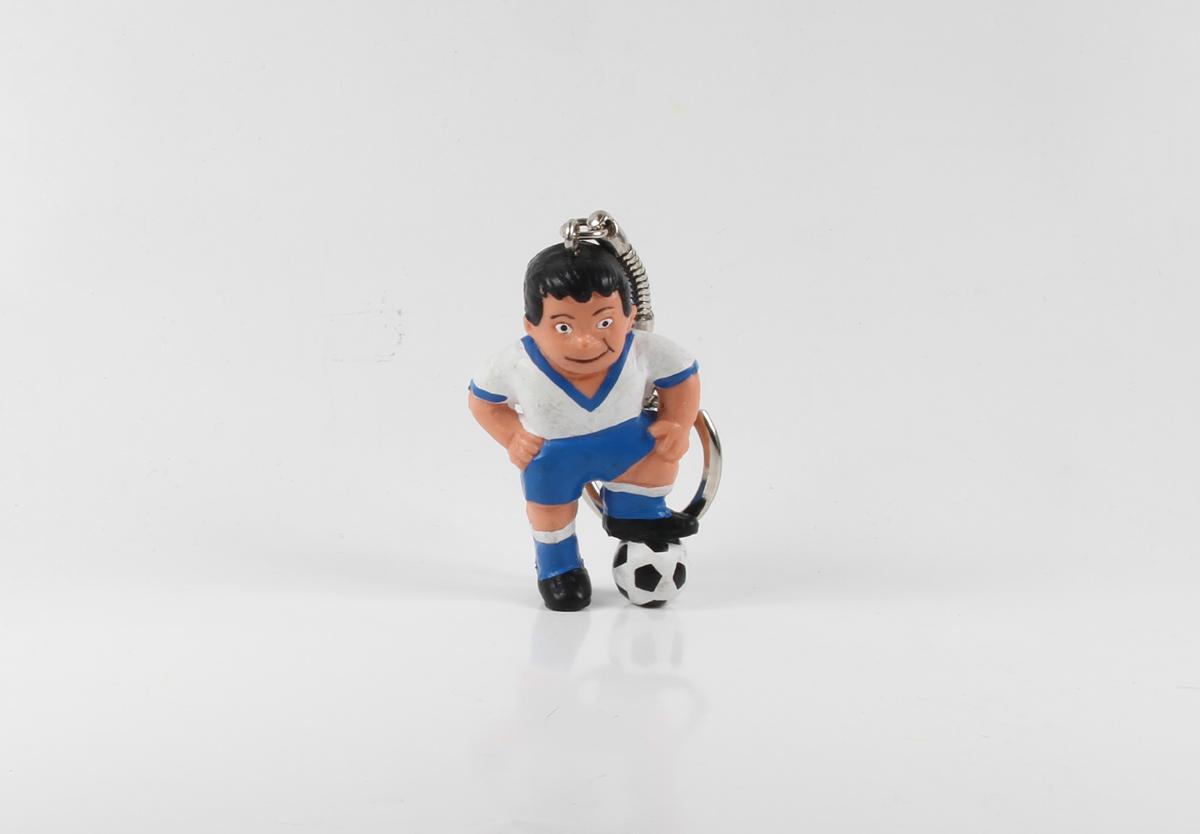 Fußball Werbefigur === weiß blaues Trikot Maskottchen Figur Schlüsselanhänger